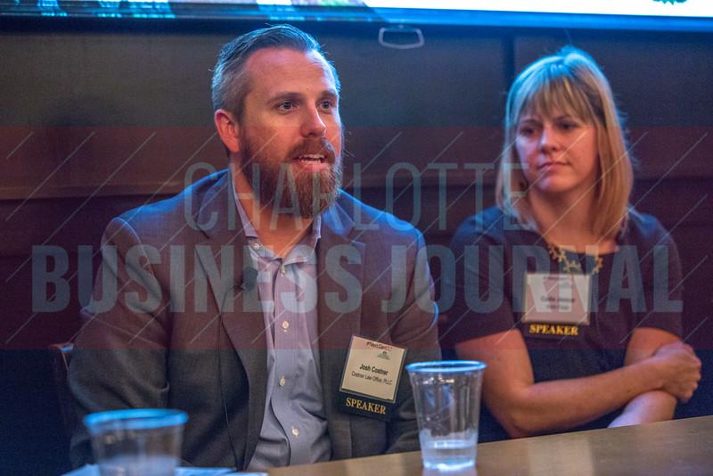 Josh Costner, Managing Partner, Costner Law Firm (left) speaks alongside his fellow panelists at the NextGenCLT:Pivot event held at Olde Mecklenburg Brewery.