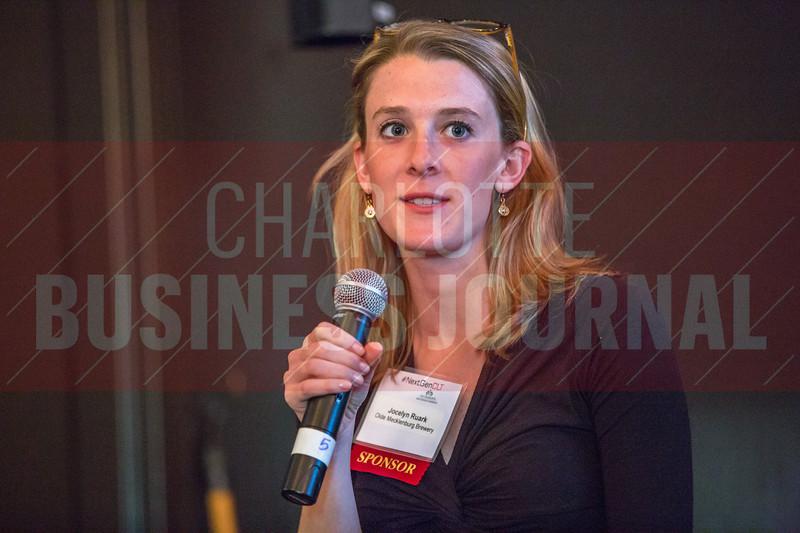 Jocelyn Ruark, Marketing Manager at Olde Mecklenburg Brewery, speaks before Charlotte Business Journal's NextGen event.