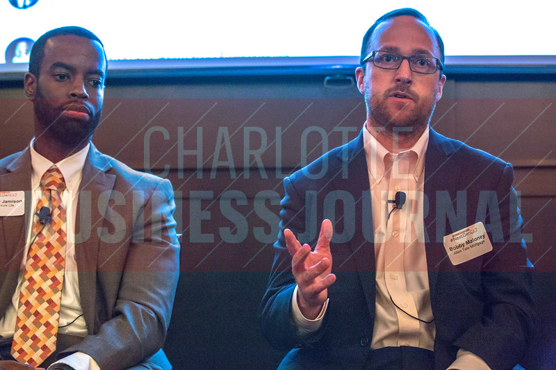 Bobby Maloney, Sr. Mortgage Consultant at Allen Tate Mortgage (right), panelist at Charlotte Business Journal's NextGen event, held at Olde Mecklenburg Brewery.