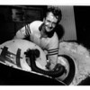 Niagara Falls, Stunters, Dave Munday with photos of grandchildren on inside of barrel hatch. James Neiss Photo. July 13, 1990.