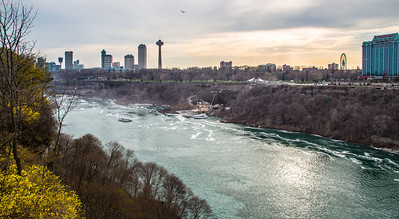 Niagara Falls, Ontario, Canada. View from bridge between Canada and USA.