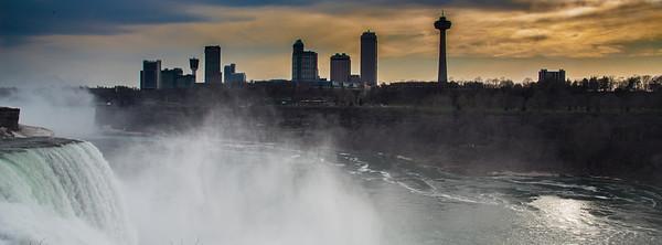 Niagara Falls, Ontario, Canada. View from Niagara Falls, NY, USA.