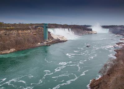 Niagara River, American Falls and Horseshow Falls, view from bridge between USA and Canada