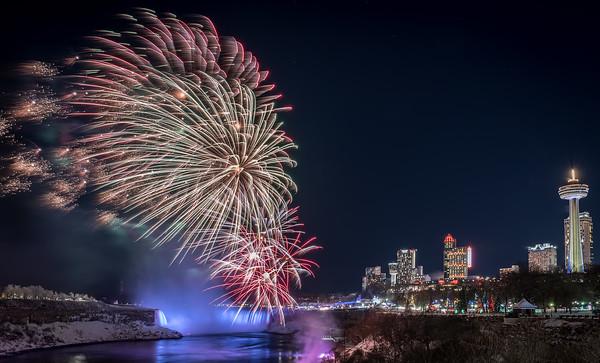 Niagara Falls Winter Fireworks