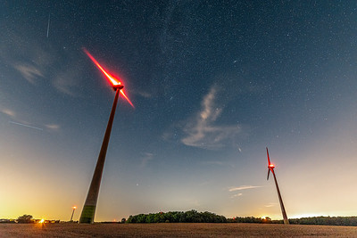 Perseid Meteors and Wind Turbines at Night - West Lincoln