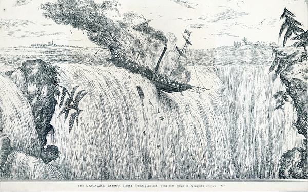 The Caroline steam boat precipitated over the falls of niagara, December 29, 1837
