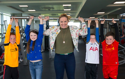 18/04/2017. Pictured at The WIT Arena at the augural WIT Arena Sporting Ambassador. Pictured is Niamh Briggs WIT Arena Sporting Ambassador with young fans Aishling Bonnar, Daniel Ryan, Naoise Cook and Tom O'Mahoney. Picture: Patrick Browne
