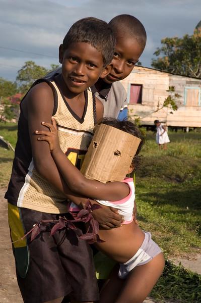 Children playing, Pearl Lagoon (Laguna de Perlas), Nicaragua.
