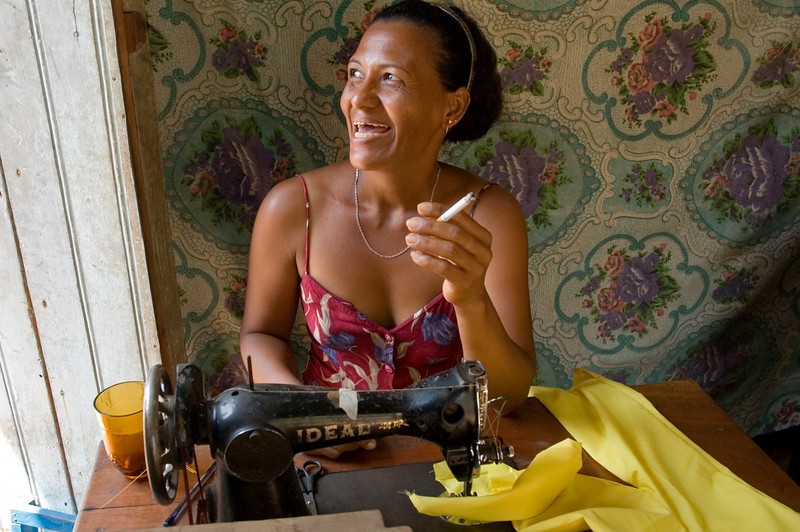 Woman with sewing machine, Las Camelias, Nicaragua.