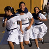 Girls in running during school exercise class, Granada, Nicaragua