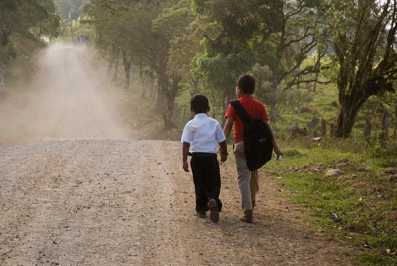 Boys walking to school, Miraflor Nature Reserve, Nicaragua.