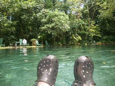 Crocs were a MUST for me IN the AWESOME waters at Oja de Agua - http://OjoDeAguaOmetepe.com/ - on Isla Ometepe in Nicaragua - a river of clear water (but with rocks at the bottom - OUCH without my Crocs!!) with medicinal properties that rejuvenate your skin!! (from my Trip Pics at http://SarongGoddess.com/Travel/OmetepeNicaragua-August12