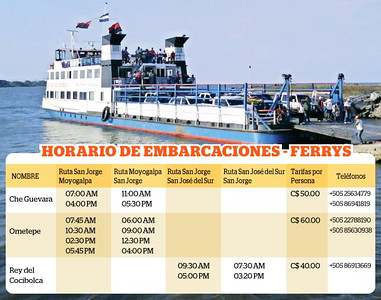 This is the schedule for the 3 BIG Vehicle Ferry's (ESPECIALLY in the high winds season which can be as early as December till as late as March when you ESPECIALLY might not want to be going on the small boats as it can be VERY SCARY!!!!   http://Facebook.com/ConoceOmetepe http://ConoceOmetepe.com