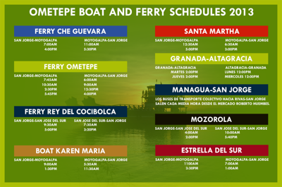"""FERRY BOAT SCHEDULE for the boats from San Jorge to ISLA OMETEPE  (SOURCE: the new website for MY FAV TOUR GUIDE FOR OMETEPE & an EXTRAORDINAIRE TOUR GUIDE - Arcelia Duarte with """"Ometepe Unique Tours"""" - the first Female Tour Guide on Isla Ometepe, Nicaragua   http://OmetepeSecretAdventures.nicaturismo.com/Ometepe%20Boat%20and%20Ferry%20Schedules.html"""