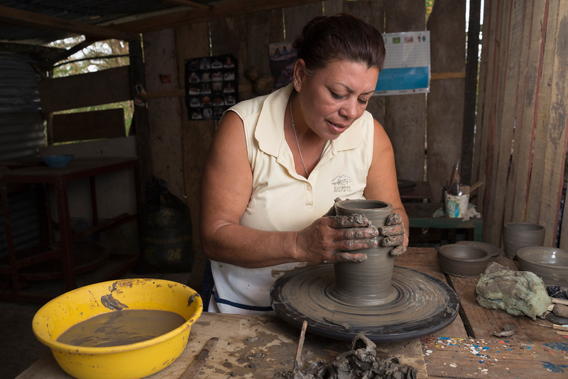 Making black pottery in the San Expedicto Pottery Cooperative, Jinotega, Nicaragua