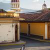 Bicyclist behind Granada Cathedral, Granada, Nicaragua