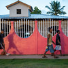 Colorful wall at sunset, Little Corn Island, Nicaragua.