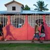 Colorful wall at sunset, Little Corn Island, Nicaragua.