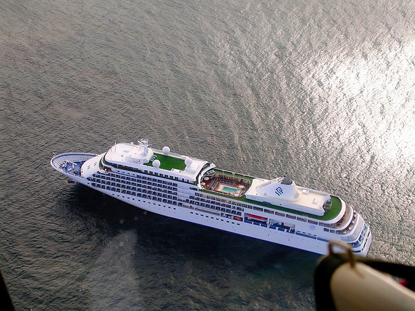 SILVER WHISPER FROM HELICOPTER OVER ST. LUCIA