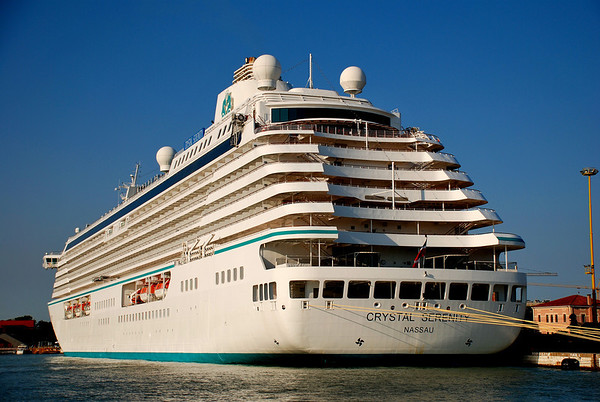 CRYSTAL SERENITY DOCKED IN VENICE, FROM THE STERN