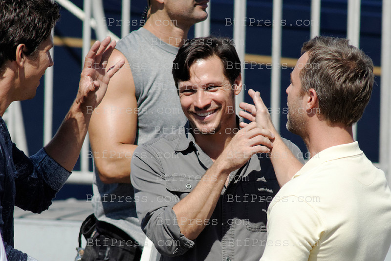 Nick Wechsel and cast during the set of Revenge in Marina Del Rey, California.