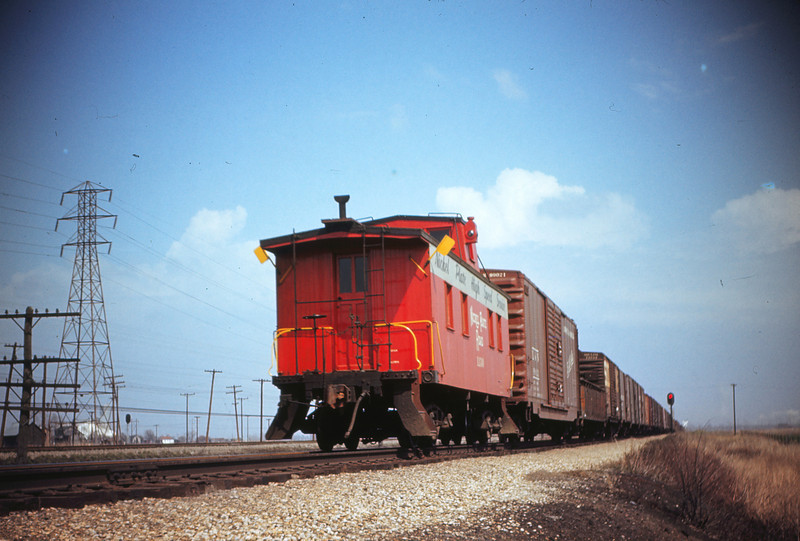 Nickel Plate Road 57 - Mar 27 1956 - Caboose on North Bound freight Granite City Ill