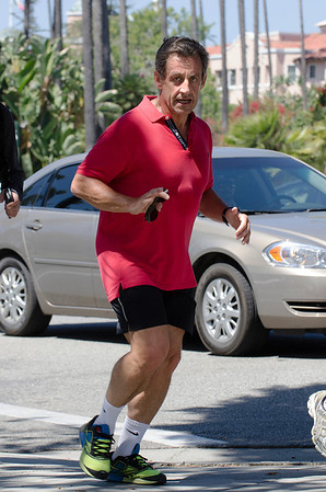 Nicolas Sarkozy runs for a Jogging in Beverly Hills