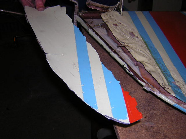 February 2006.  Wing and rudder recovering is deemed necessary.  <br /> The rudder turns out to have an outer skin - and we can see why.