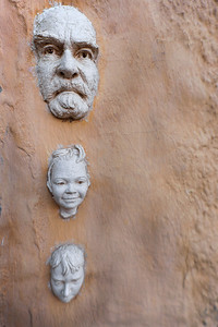 Faces in the wall of Koos gallery