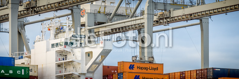 Container being offloaded from containership at ACT terminal