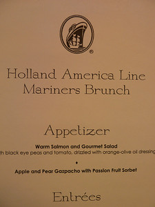 The Mariner's brunch menu. They gave us this menu by accident at the embarkation lunch.