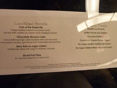 Embarkation lunch, desserts