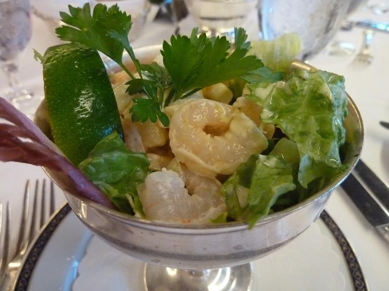 Bay shrimp cocktail with Calypso mustard sauce