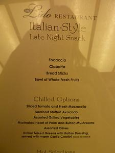 Late night snack: Italian, night 1