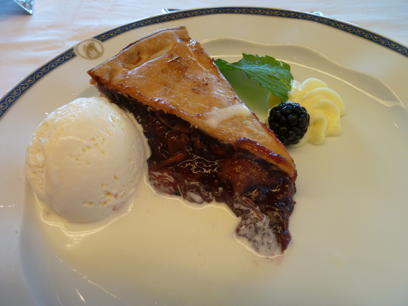 Fruits of the forest pie with vanilla ice cream