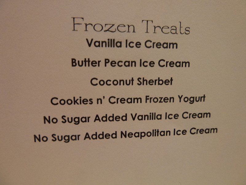 Embarkation lunch, dessert menu