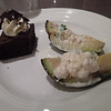 Seafood stuffed avocado and chocolate cake