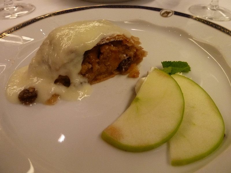 Viennese apple strudel with raisins and vanilla sauce
