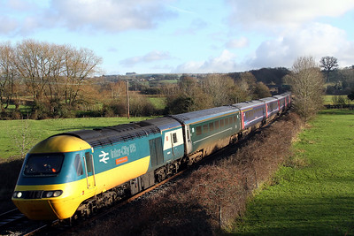 43002 leading 43003 1c78 1103 Paddington to Plymouth pass Great Cheverell 10 Jan