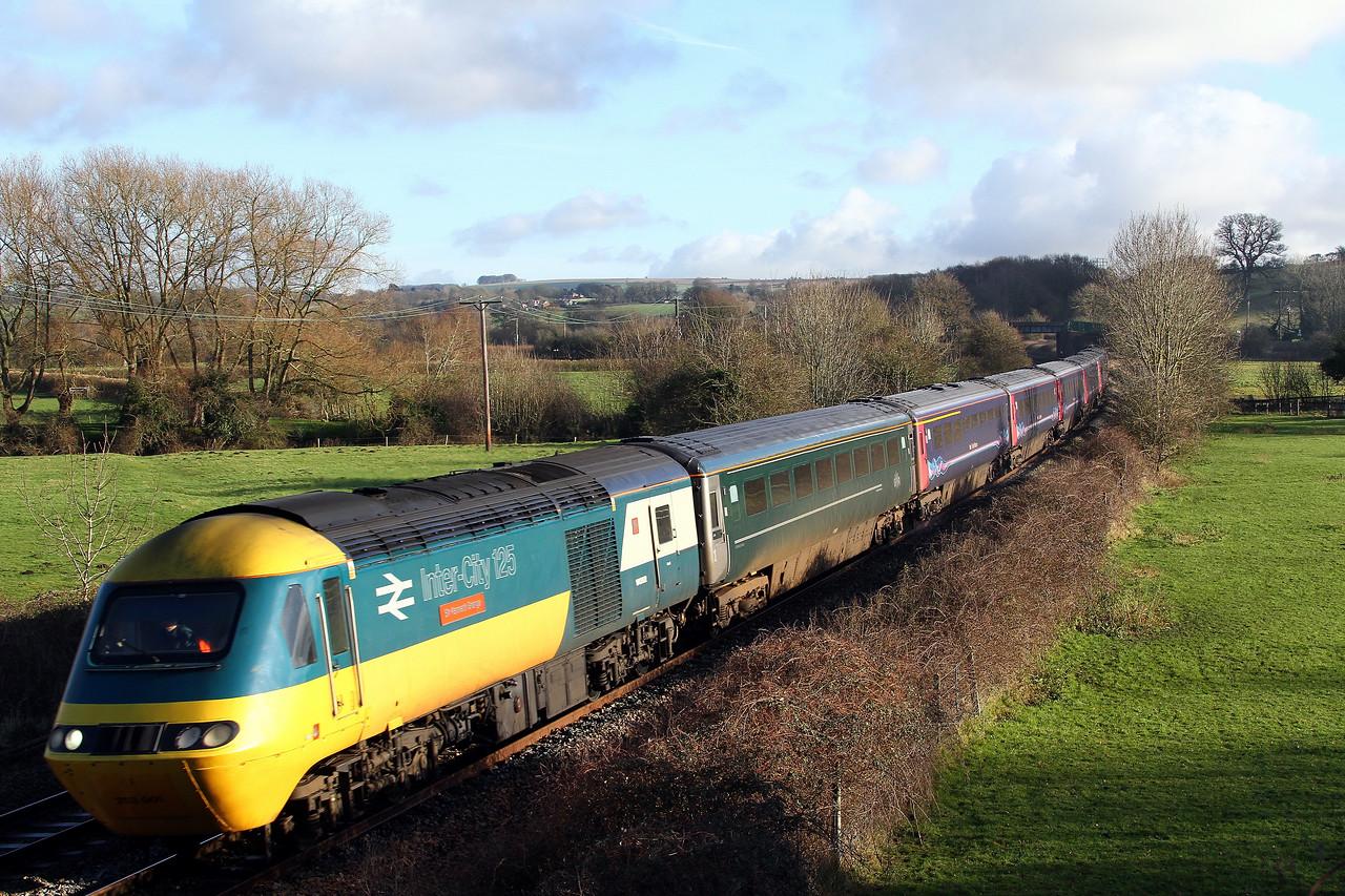 43002 leading 43003 1c78 1103 Paddington to Plymouth pass Great Cheverell 10 Jan