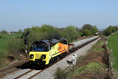 70813 leading 70811 6C26 1123 Hinksey Yard to Bristol East jn pass Fairwood split bridge 8 April
