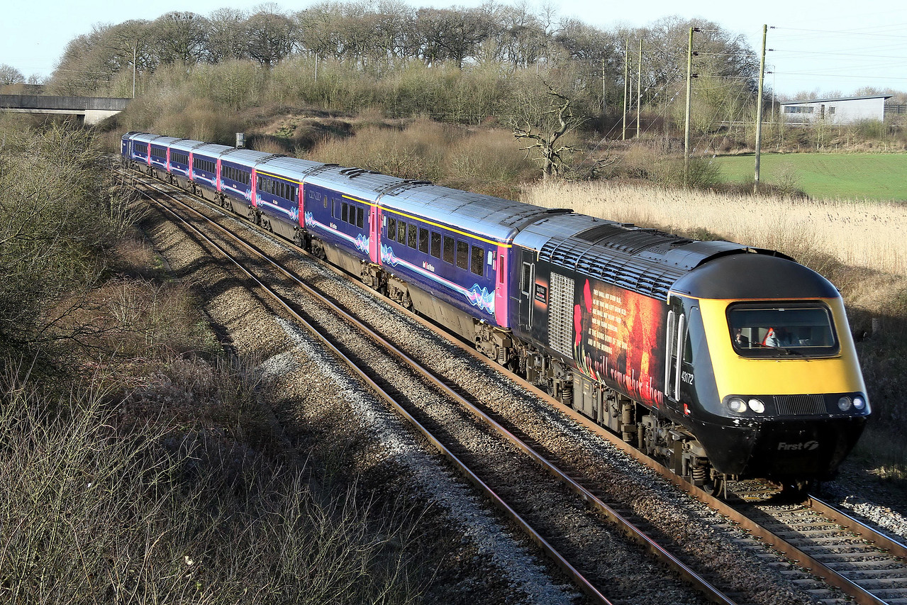 43172 leading 43088 on 1a76 0505 Penzance to Paddington passing Frome 24 Feb
