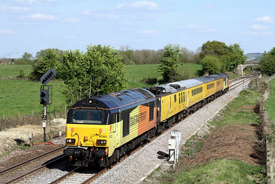 67023 leading 1z22 0814 Tyseley LMD to Bristol High Level Sidings pass Penleigh 19 April