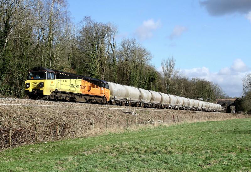 70807 6c36 1220 Westbury Lafarge to Aberthaw pass Avoncliff 24 Feb