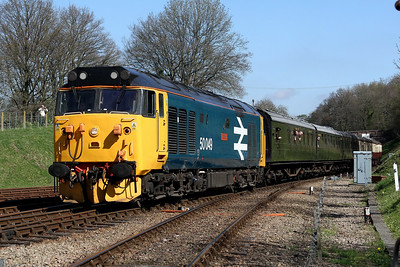 50049 approaching Horsted Keynes with 1100 East Grimstead to Sheffield Park 2 April