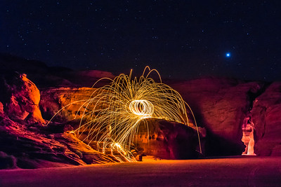 Fireworks at a Slot Canyon with Night Sky
