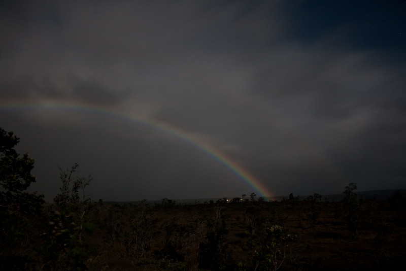 Moonbow at the Kilauea volcano