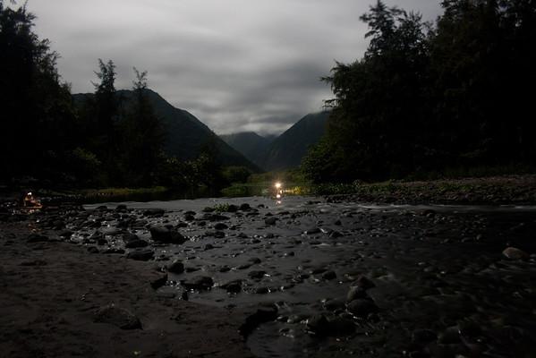 Waipio River at night