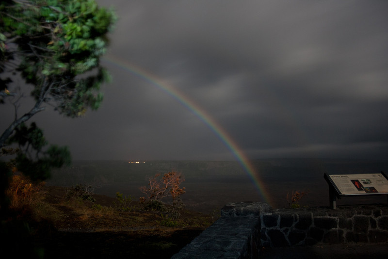 moonbow at the Kilauea volcano's Jaggar Museum. Volcano House has there lights on