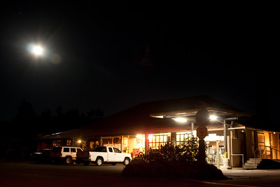 The Volcano Store at night